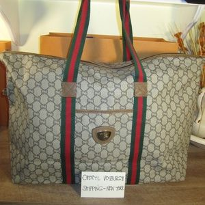 Vintage GG Plus Web Duffle Tote Bag